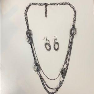 Premier designs black tone necklace w/ earrings